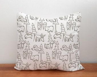 Woodland Nursery Pillow Cover, Woodland Pillow, Black White Throw Pillow, Woodland Print, Toddler Bedding, Scandinavian Nursery