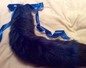 "Luxury Limited Edition 30"" Midnight Blue With Black Tip Kitten Play Faux Fur Tail."