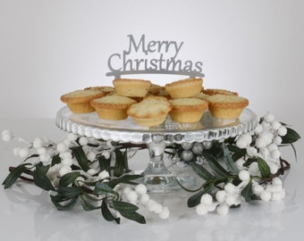 Merry Christmas Cake Toppers Decoration - Red or Silver