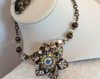 Antique Gold Necklace with Repurposed Vintage Brooch