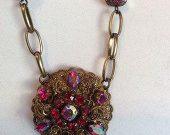 Antique Gold with Beautiful Vintage Fuschia Pendant