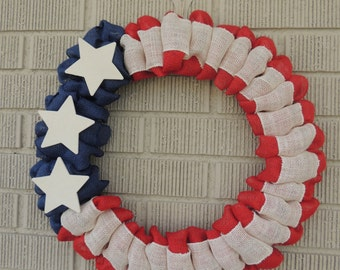 Patriotic Wreath - Burlap Wreath - American Wreath - 4th of July Wreath
