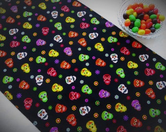 "Halloween Table Runner/Day of the Dead Table Runner/Sugar Skull Table Runner/50""-84"" Table Runner/Halloween Decor/Halloween Party Decor"