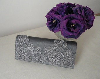 Lace & silk clutch grey-elegant occasions