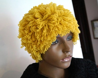Wool Loop Hat.Loop cap, hat. Looped Hat Knit with 100% Wool. Yellow Women hat. 1960's design Hat. Boho hat. Hand crocheted hat. Fringe hat