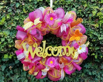 Welcome Wreath, Summer Wreath, Butterfly Wreath, Daisy Wreath,  Summer Decor, Spring Wreath