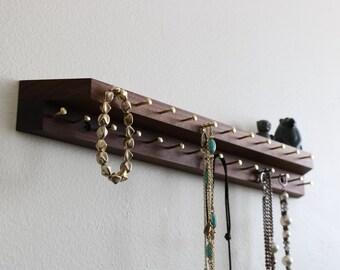Walnut wood Jewelry / Necklace Holder / Display Shelf with Brass Hanger