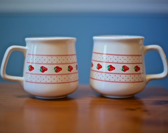 Set of Two Vintage Strawberry Mugs