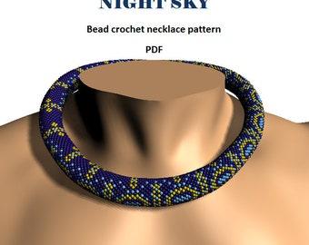 Night Sky. Bead crochet rope pattern, PDF pattern, DIY, beaded necklace, bead crocheting, night sky design, blue crochet necklace