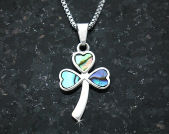 Full of Faith Abalone Shamrock Necklace (S107)