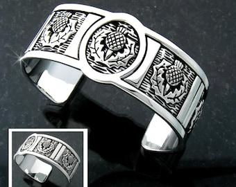 Scottish Thistle Cuff Bracelet, Scottish Jewelry, Scottish Jewellery, Thistle Celtic bracelet, Thistles, Scottish Jewelry (#JPEW6001)