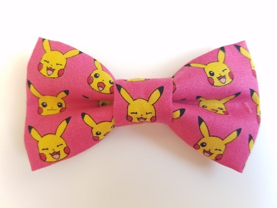 Pokemon Bow for Cat or Small Dog Collars, Matching Velcro Collar, 100% Sales Goes to Feeding Feral Cats