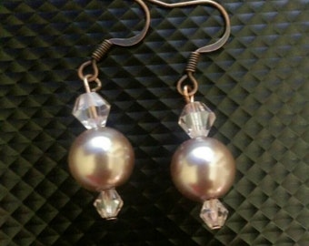 Rose Pink Glass Pearl Earrings