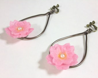 Cherry blossom flower Earrings using Japanese paper