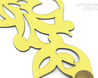 Laser cut leather cuff bracelet - lemon swirl design