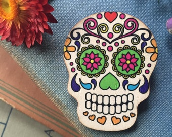 awesome and funky, day of the dead sugar skull brooch, gift for her