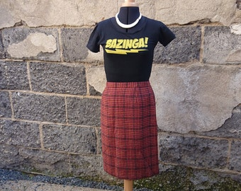 Skirt vintage red Plaid Lewinger 60s