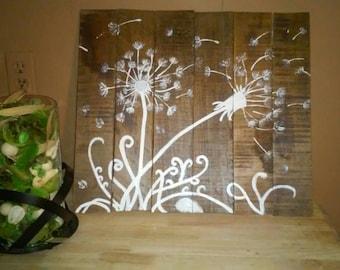Dandelion hand painted pallet sign
