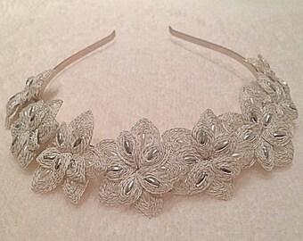 Beautiful Custom Made Handspun Silver Floral Tiara