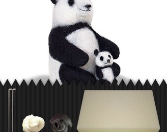 DIY panda bear, do it yourself, needle felted panda, packet, wool