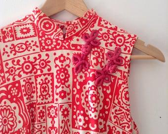 Vintage Maxi Oriental Style Dress // 70s // Asian Inspired // Print Dress // Shanghai // Kimono