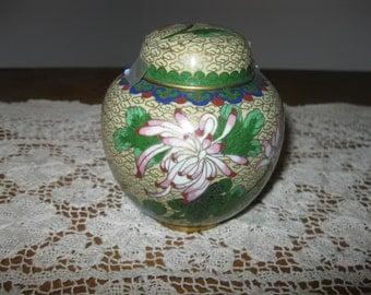 "Vintage Chinese Cloisonne Ginger Jar With Lid 4.25""!"