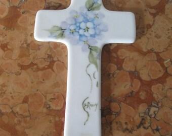 Shirley Roney Artist Signed Hand Painted Flowers Cross Brand New! #SR