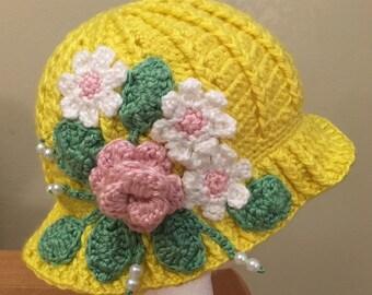 Cloche spring hat, summer hat, cloche, kids hat, adult hat, crochet cloche hat, flower hat