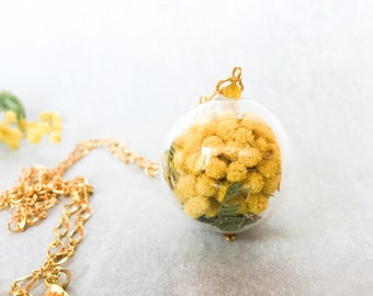 Mimosa charm necklace