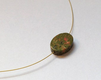 Unakite  Necklace, pretty smooth flat oval.