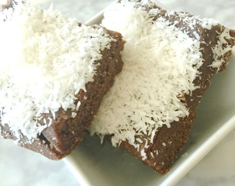 Chocolate Coconut Brownies Raw Organic Vegan Healthy Low Sugar Low Calorie Paleo
