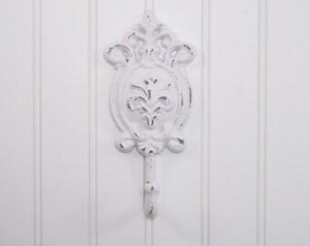 WHITE French Cottage Hook / SHABBY CHIC Hook /  Nursey Wall Hook/ Iron Wall Hook/  Towel Hook/ Bath Hook / Bath Decor/Ornate Hook
