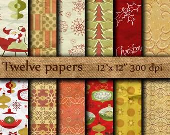 "Christmas digital paper: ""SHABBY CHRISTMAS"" crumpled old vintage christmas background, kraft paper christmas, grungy x-mas, shabby paper"