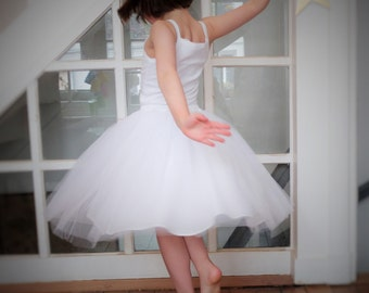 long skirt in cotton and tulle for little princess - size 5 to 12 years old