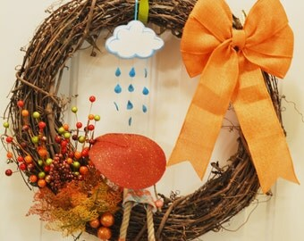 Fall wreath with rain, girl, umbrella - new seller with imagination  :)