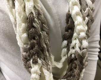 Ivory and Brown Infinity Scarf