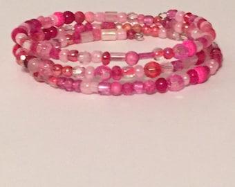 Bracelet- Pink Beaded 3-wrap bracelet