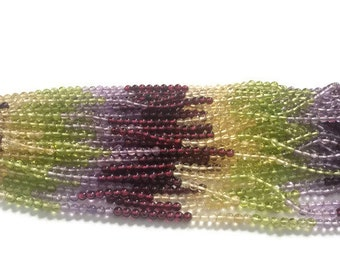 Multi Semi Precious Round beads, Garnet+Citrine+Amethyst + Perdidot 3.5 mm size , length 15'