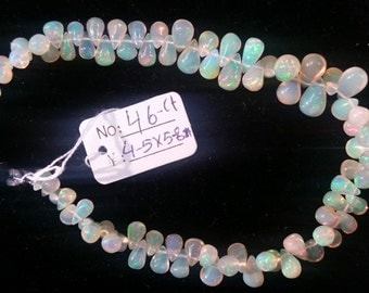 Ethiopian Opal Drop shape 4-5X 5-8mm, 8 Inch Strand, Superb-Finest Quality,
