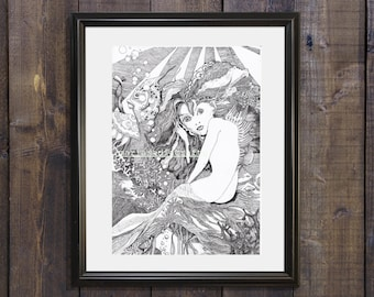 mermaid drawing, nursery, graphic art drawing, black and white wall art, underwater wall art, digital print, fine art print,valentine gift