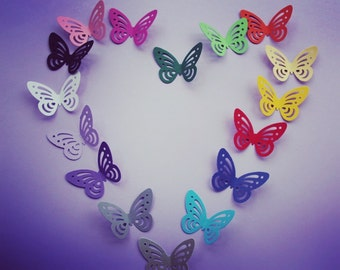 3D Colorful Butterflies/ Paper Butterflies/ Butterflies DIE CUT/ Paper confetti/ Butterflies for scrapbooking/Party décor/Wedding décor/