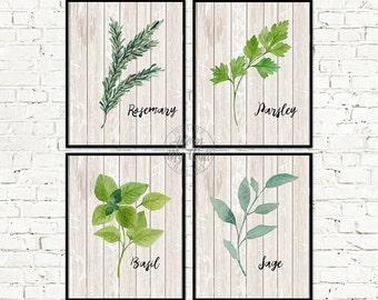 Kitchen art, herb print, kitchen decor, kitchen print, botanical print, kitchen wall art, herbs print, herb prints, kitchen wall decor, herb