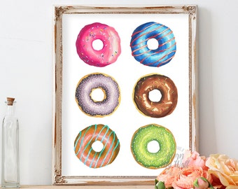 Donut printable, kitchen food wall art decor, doughnut, donut decor, instant download, 8x10