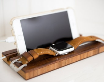 Docking Station Apple Watch Dock iPhone iWatch Monogram Personalized Men Phone Charging Wood Groomsman Boyfriend Initials
