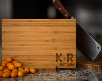 Personalized Cutting Board Wedding Anniversary Family Name Engraved Monogram Initials Custom Chef Kitchen Decor Chopping