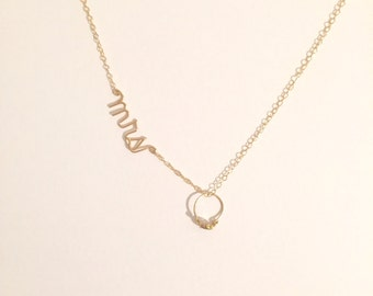 Sterling Silver or GoldPlated  Mrs. Necklace with ring Charm Custom made by April Schenk