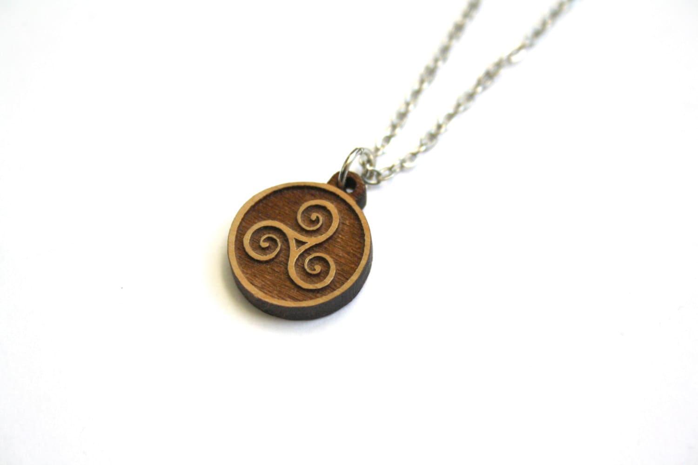 Wood triskelion necklace triskele pendant wooden celtic for How to make a wooden pendant