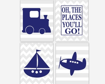 Baby Boy Nursery Art Navy Blue Gray Grey Train Plane Airplane Boat Sailboat Oh The Place You'll Go Canvas Prints Toddler Boy Room Wall Decor