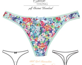 DIGITAL Lingerie Sewing Pattern - Chloe Thong - pdf Instant Download - EVIE la LUVE