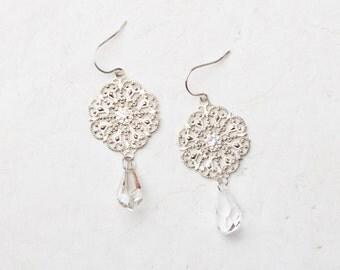 Silver filigree, Swarovski crystal drop earrings, sterling silver ear wires, OOAK